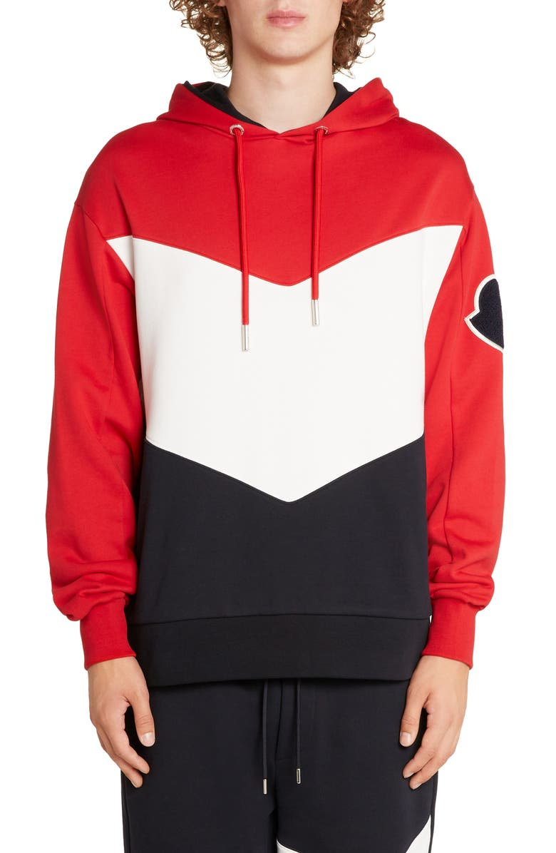 MONCLER Colorblock Hooded Sweatshirt, Main, color, DARK BLUE