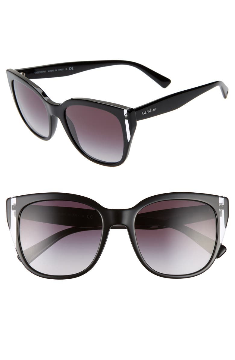 VALENTINO 54mm Sunglasses, Main, color, BLACK CRYSTAL GRADIENT