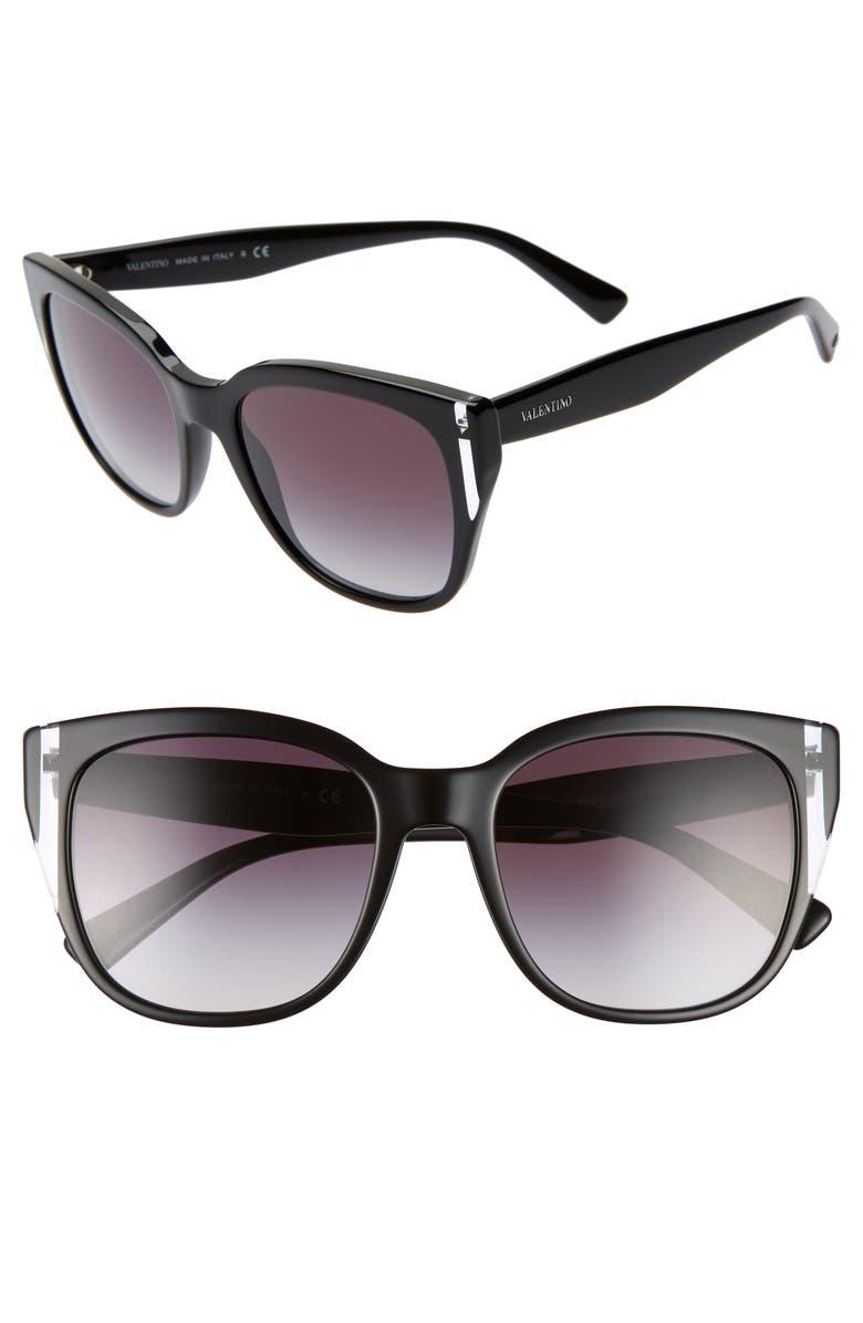 VALENTINO 54mm Sunglasses, Main, color, 001