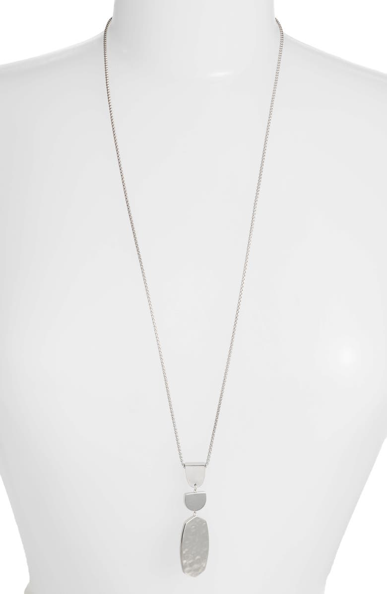 KENDRA SCOTT Noah Long Pendant Necklace, Main, color, SILVER