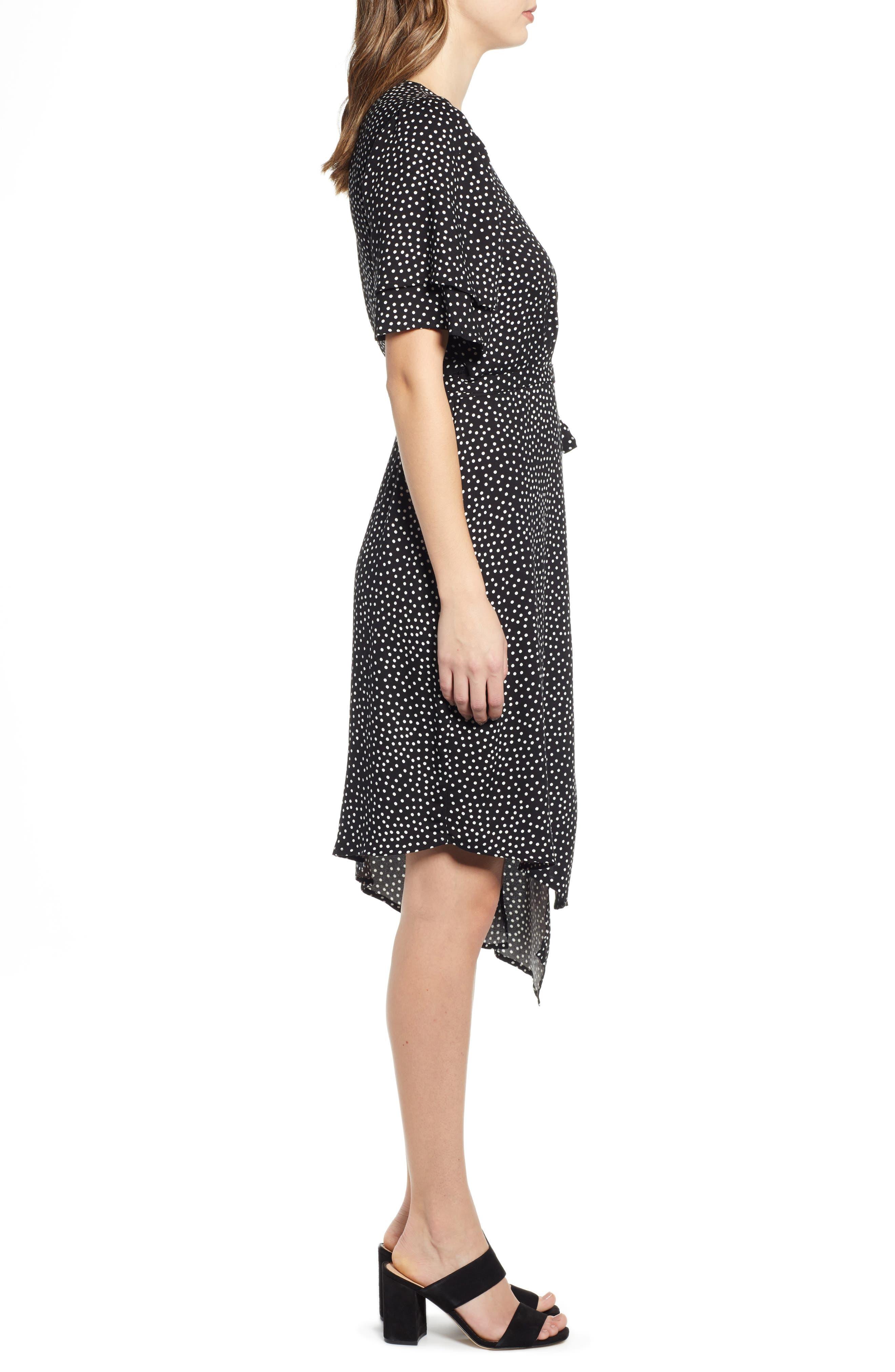 ,                             Ruffle Sleeve Wrap Dress,                             Alternate thumbnail 10, color,                             001