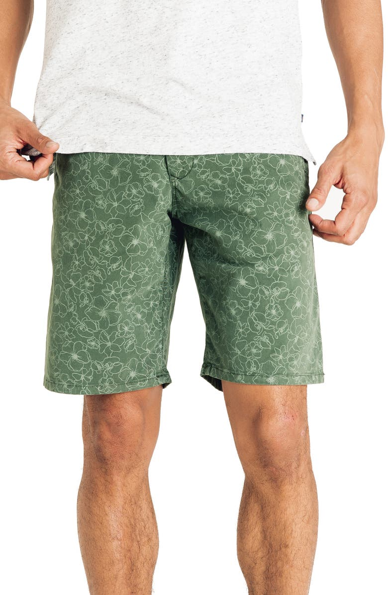 GOOD MAN BRAND Floral Stretch Cotton Shorts, Main, color, RIFFLE GREEN