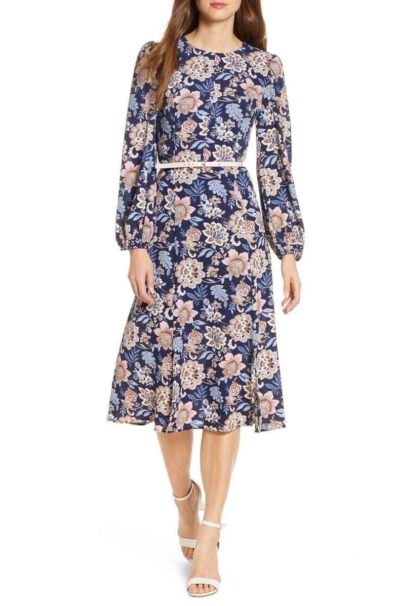 ELIZA J Floral Long Sleeve Pebble Crepe Dress, Main, color, NAVY