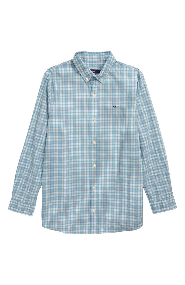 VINEYARD VINES Mini Tartan Poplin Whale Shirt, Main, color, GREENWICH GREEN