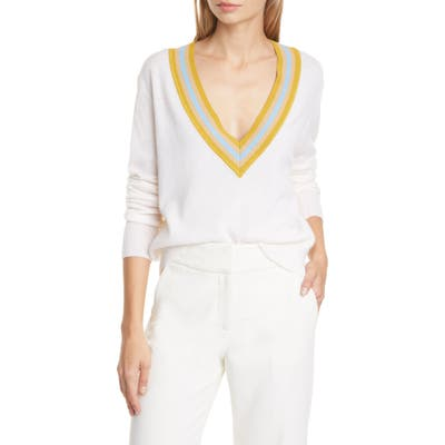 Veronica Beard Jessel Merino Wool & Cashmere Tennis Sweater, Ivory