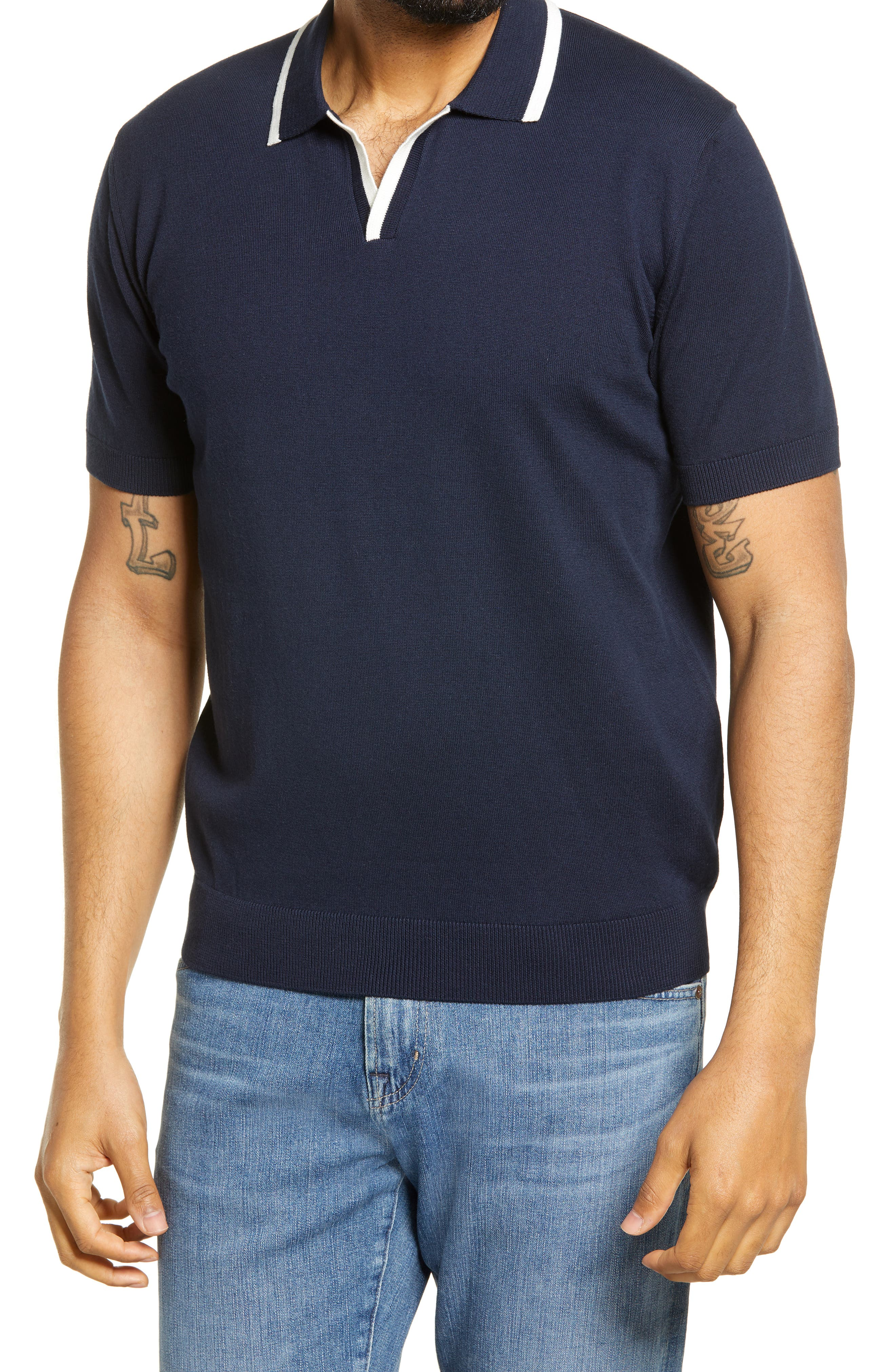 Easy 1940s Men's Fashion Guide Mens Bugatchi Short Sleeve Sweater Size Medium - Blue $129.00 AT vintagedancer.com