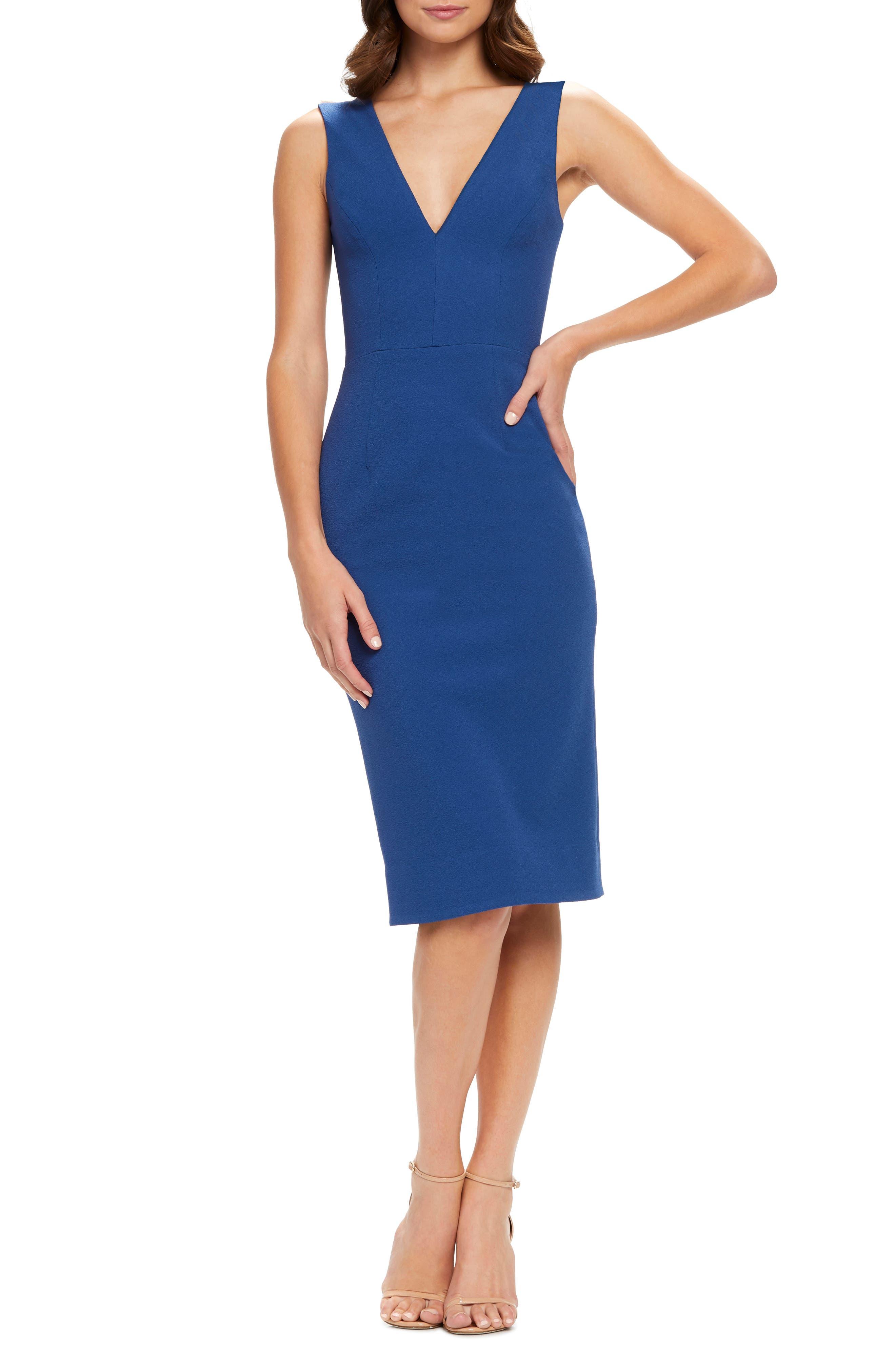 Dress The Population Sandy Plunge Neck Stretch Crepe Sheath Dress, Blue