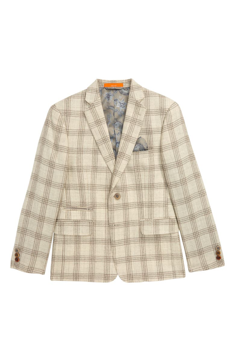 TALLIA Plaid Sport Coat, Main, color, OATMEAL