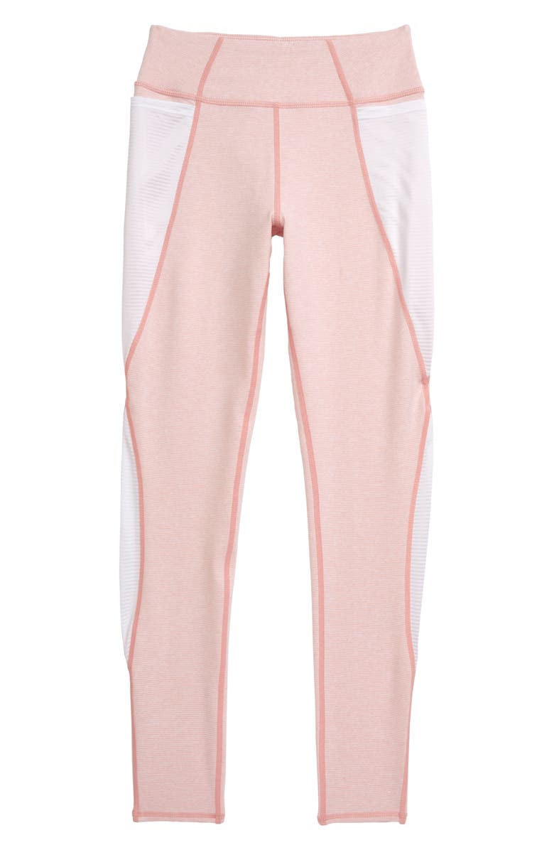 ZELLA GIRL Point Pocket High Waist Leggings, Main, color, PINK FROSTY- WHITE