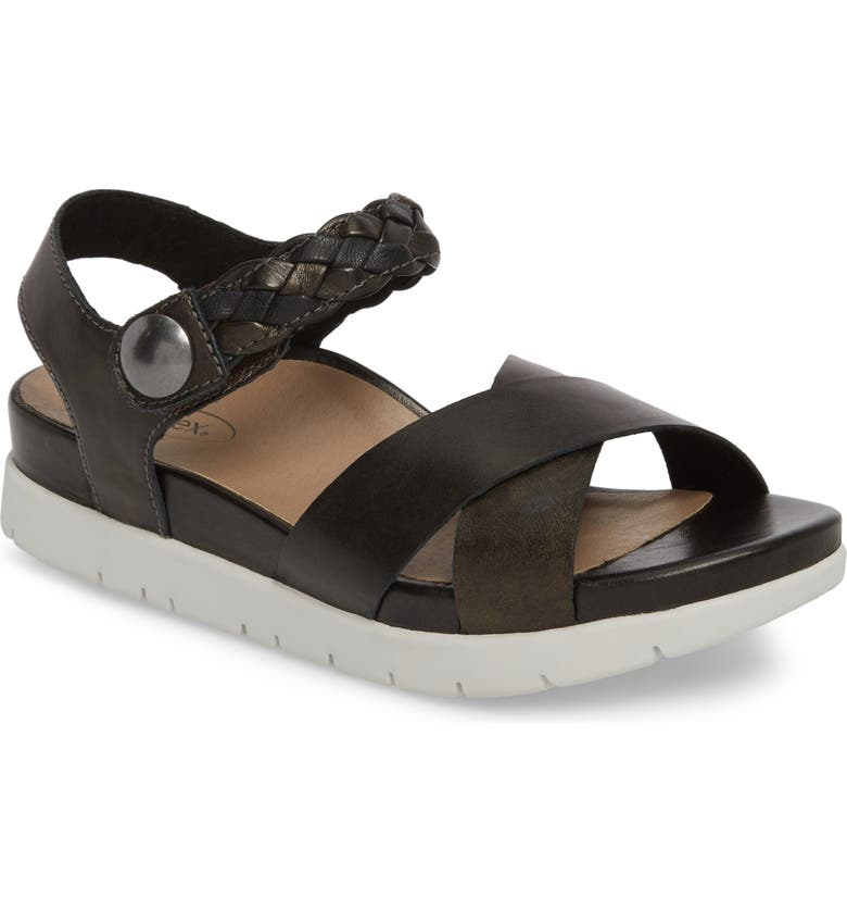 AETREX Piper Sandal, Main, color, BLACK LEATHER