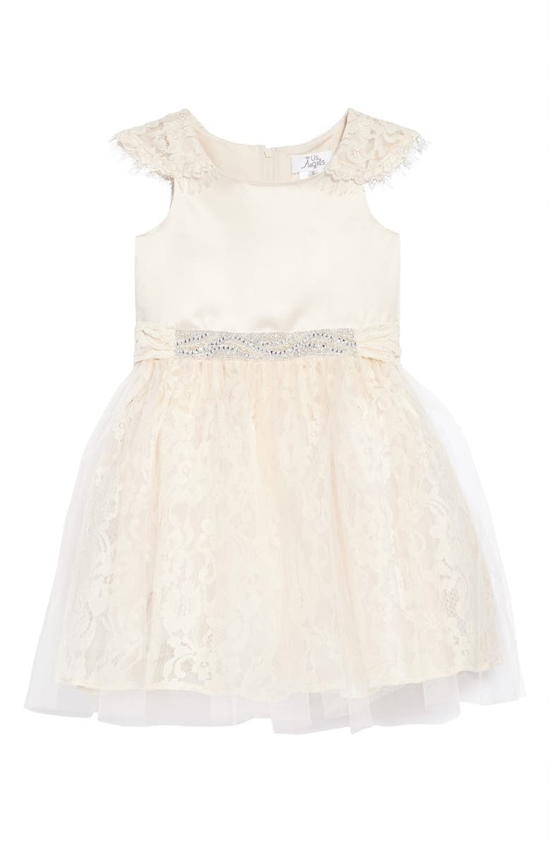 US ANGELS The Sarah Floral Lace Dress, Main, color, CHAMPAGNE