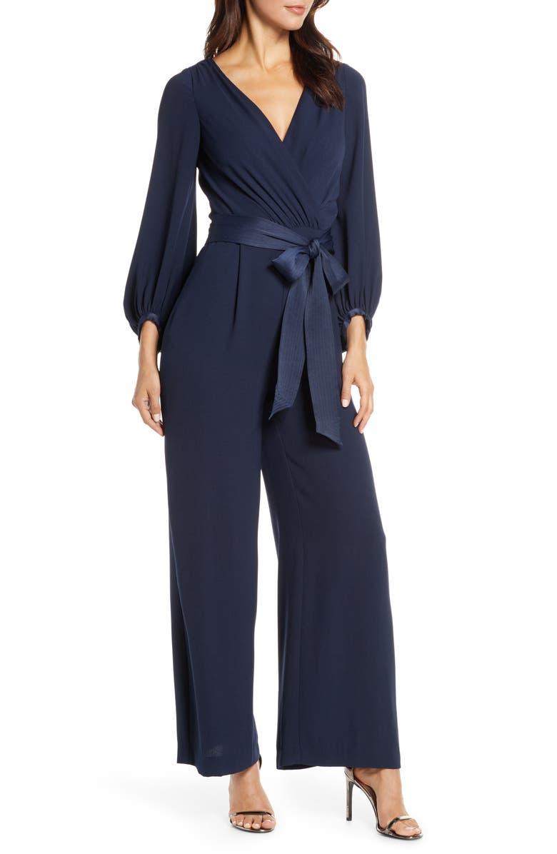 ELIZA J Long Sleeve Wide Leg Jumpsuit, Main, color, NAVY