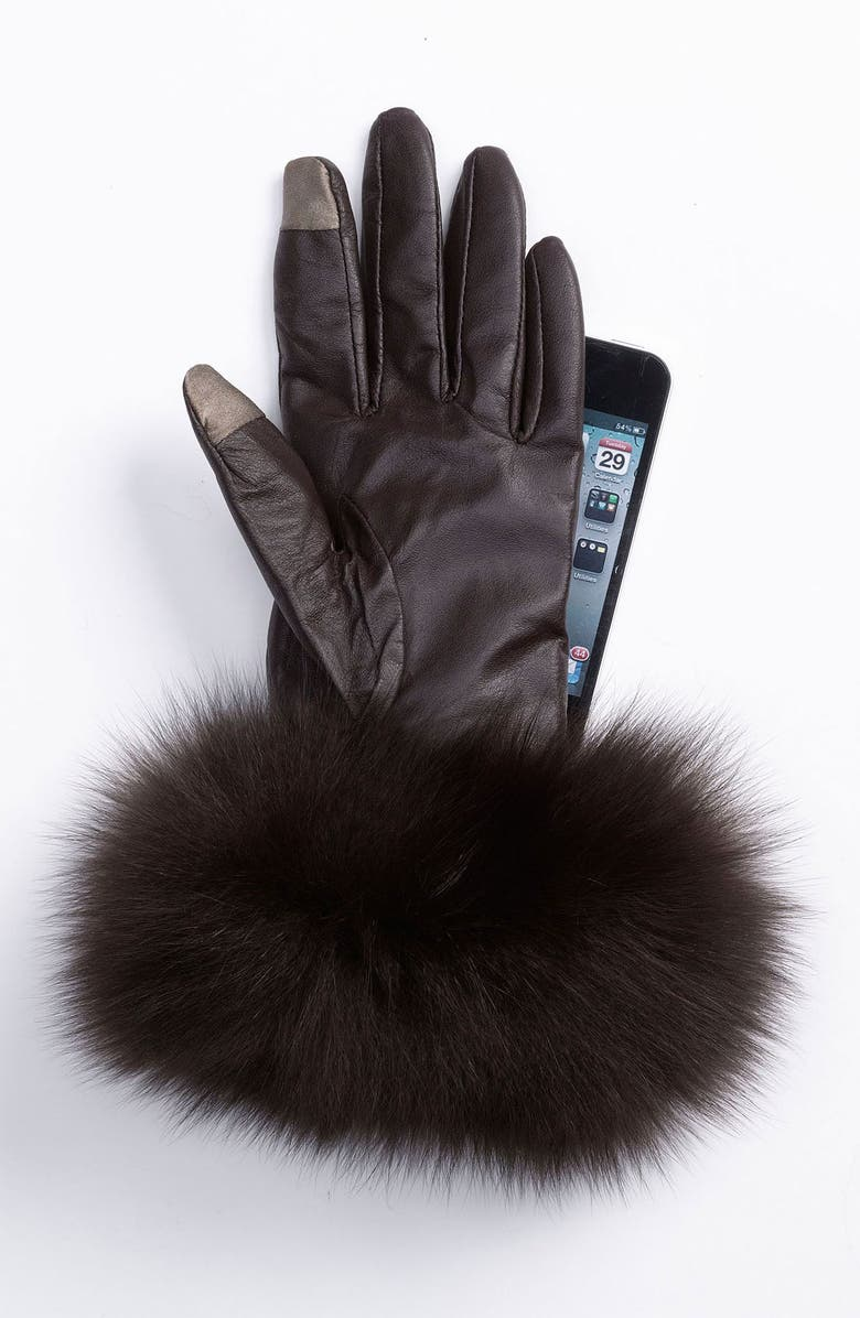 DENA Products Genuine Fox Fur & Leather Tech Gloves, Main, color, 001