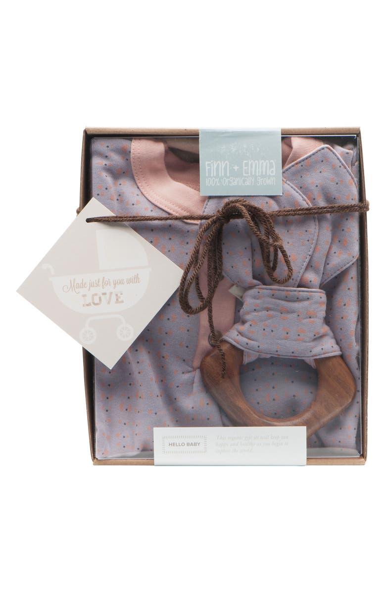 FINN + EMMA Stripe Organic Cotton Romper & Hardwood Teething Ring Set, Main, color, 900