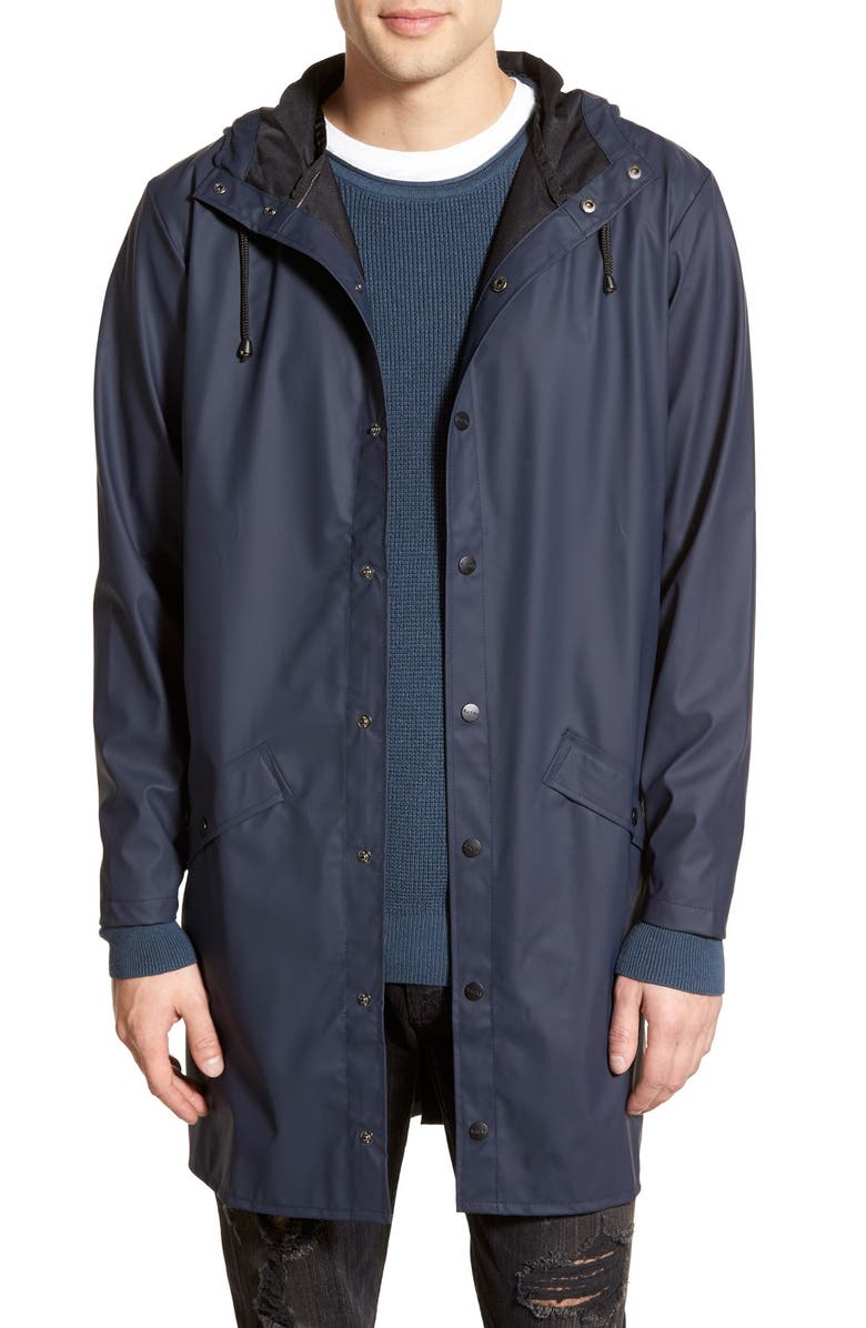 RAINS Waterproof Hooded Long Rain Jacket, Main, color, BLUE