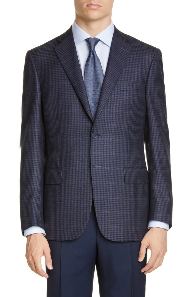 CANALI Sienna Soft Classic Fit Check Silk & Wool Sport Coat, Main, color, BLUE