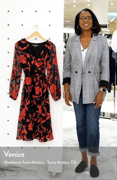 Floral Long Sleeve Velvet Burnout Faux Wrap Dress, sales video thumbnail