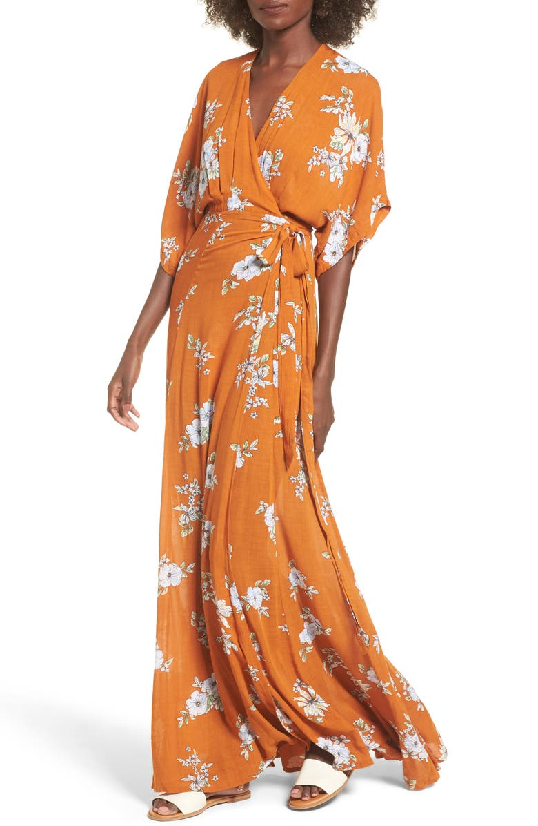 FAITHFULL THE BRAND Bergamo Floral Wrap Maxi Dress, Main, color, 700
