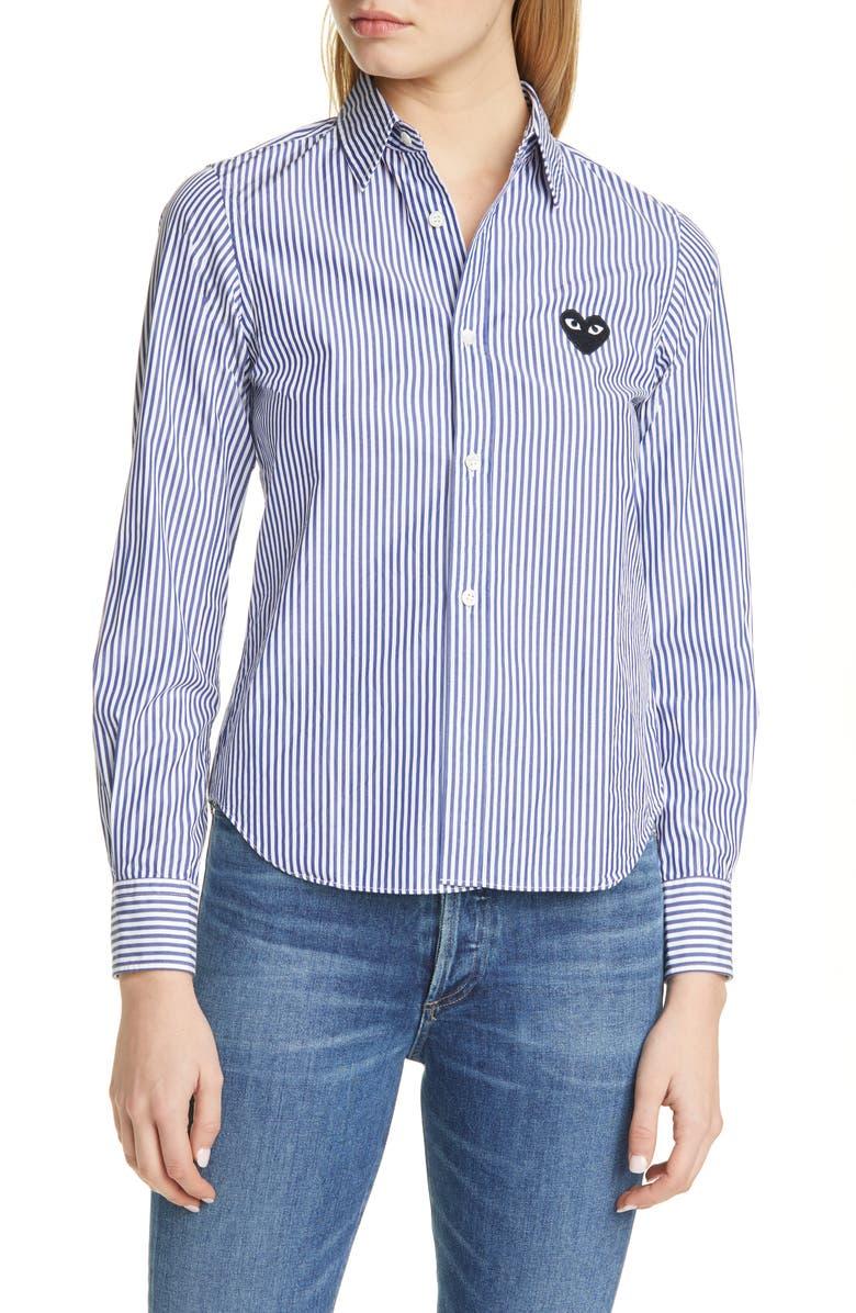 COMME DES GARÇONS PLAY Black Heart Stripe Cotton Shirt, Main, color, BLUE