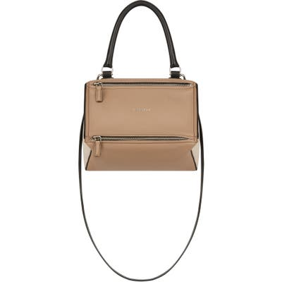 Givenchy Small Pandora Box Tricolor Leather Crossbody Bag - Beige