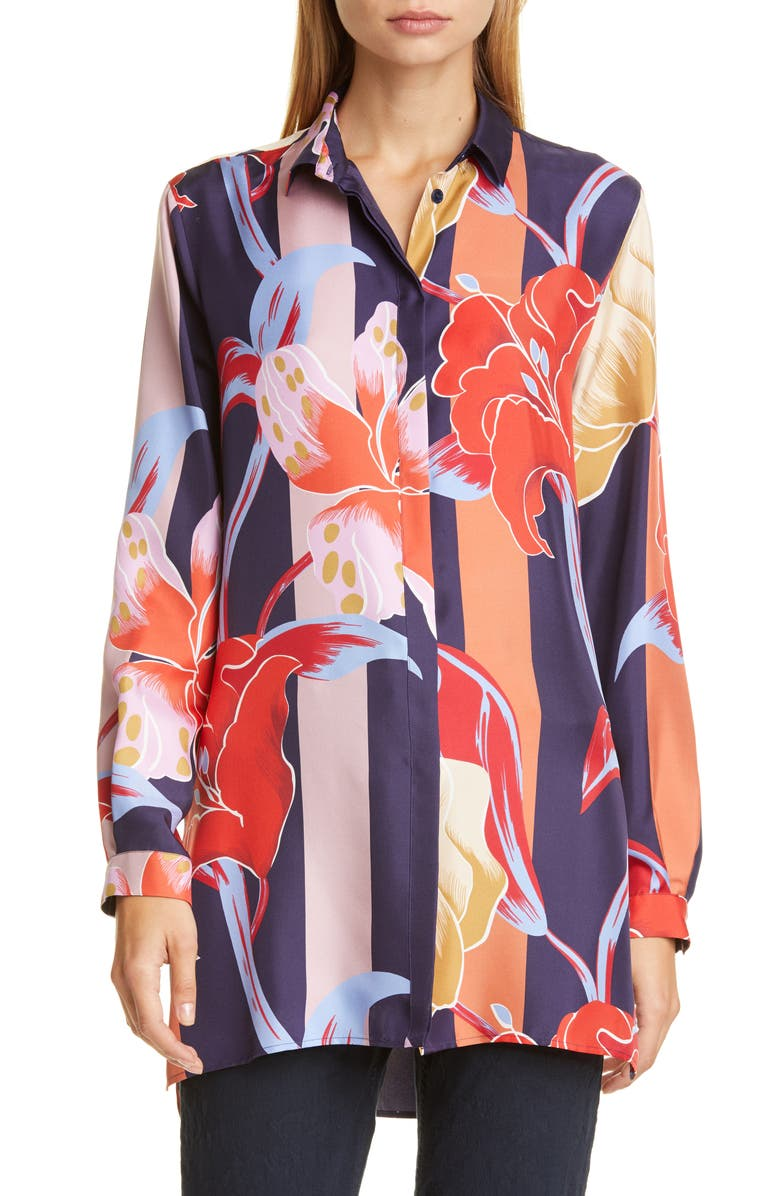 ETRO Large Lily Print Silk Tunic Shirt, Main, color, NAVY