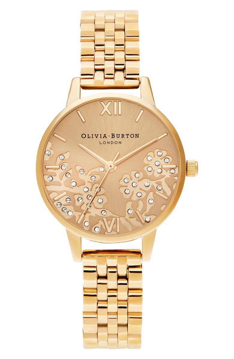 OLIVIA BURTON Bejewelled Lace Bracelet Watch, 30mm, Main, color, GOLD
