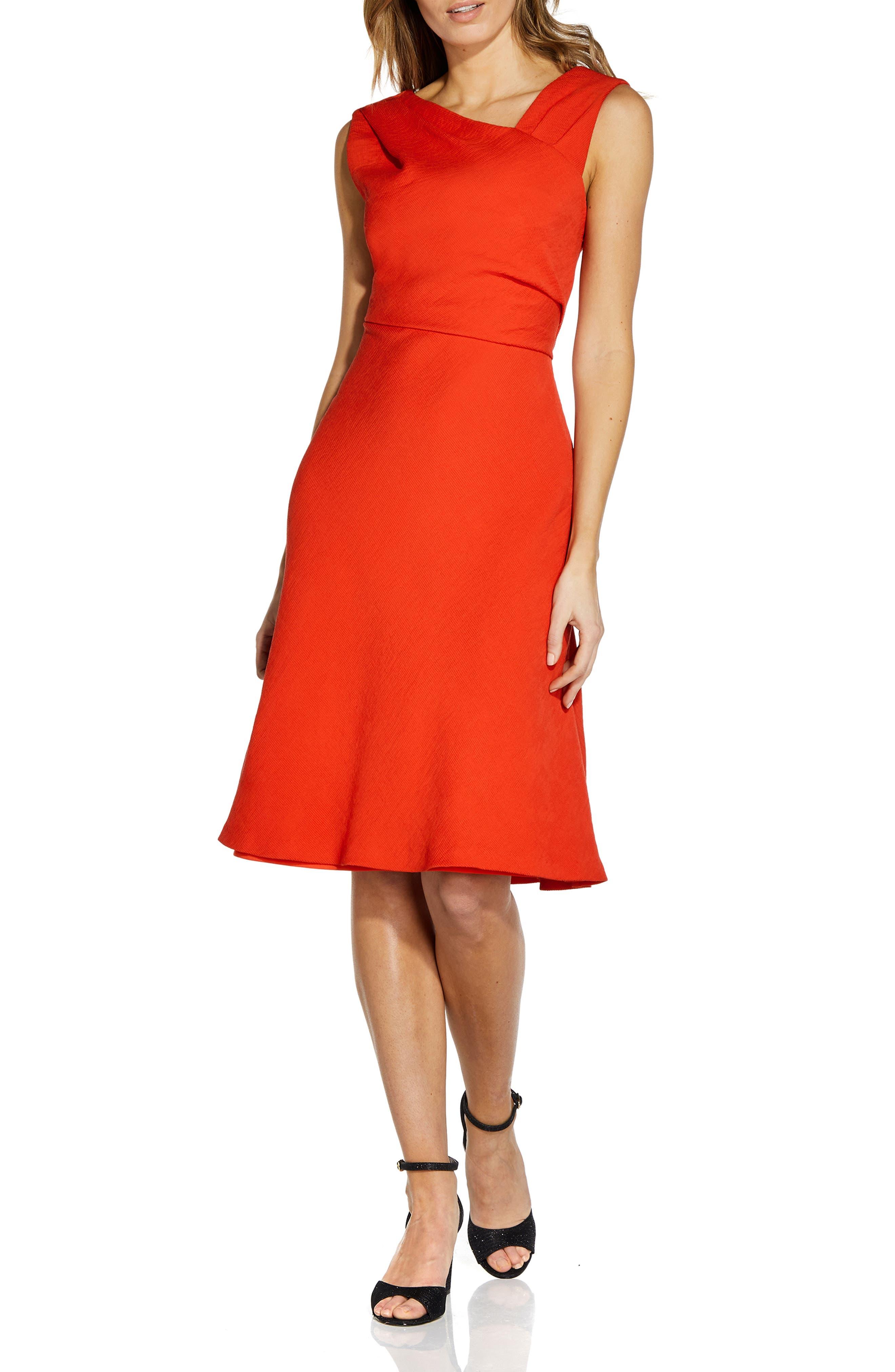 Sleeveless Pleated Crepe Dress
