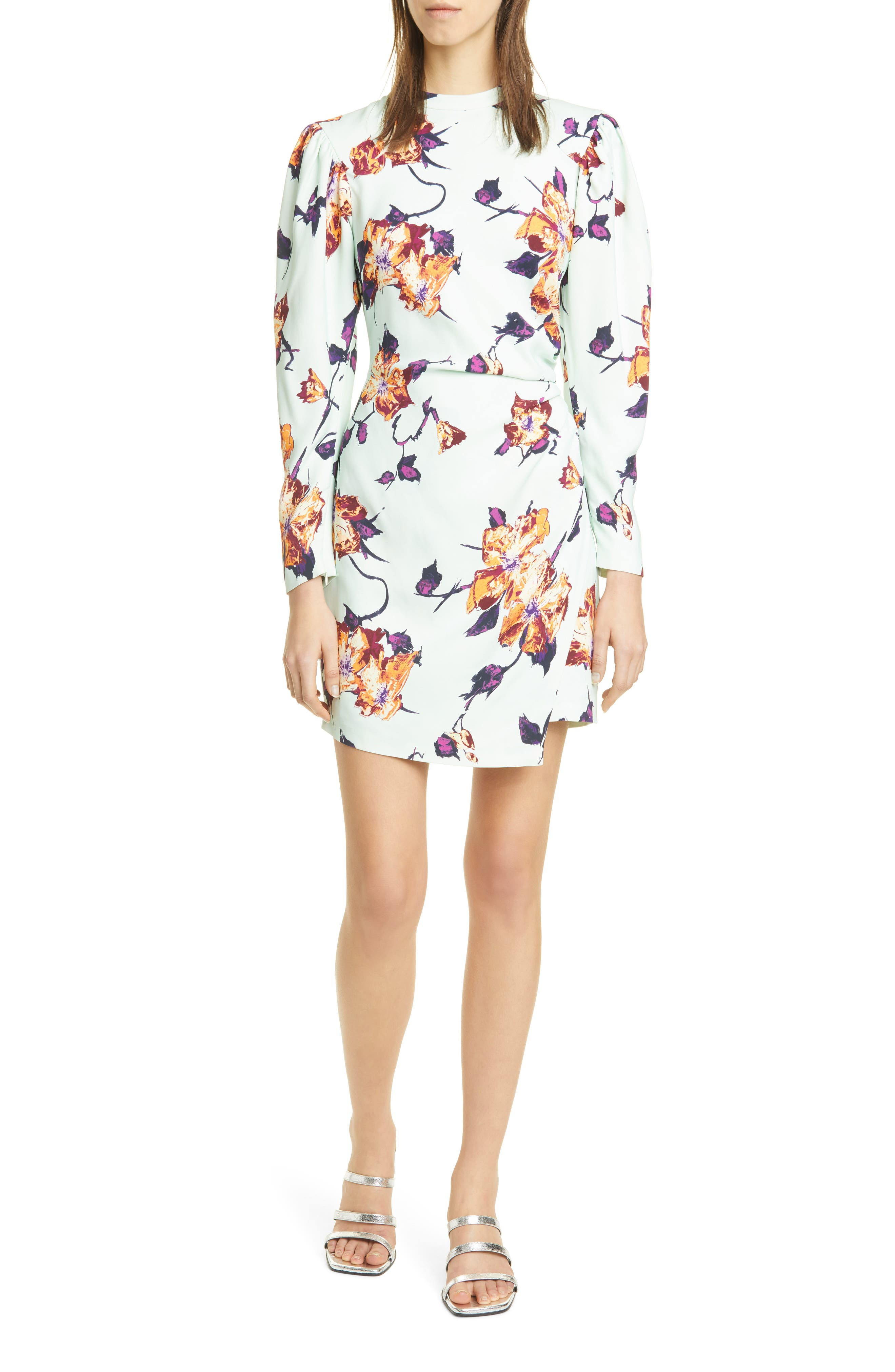 Image of A.L.C. Jane Floral Leg of Mutton Long Sleeve Minidress