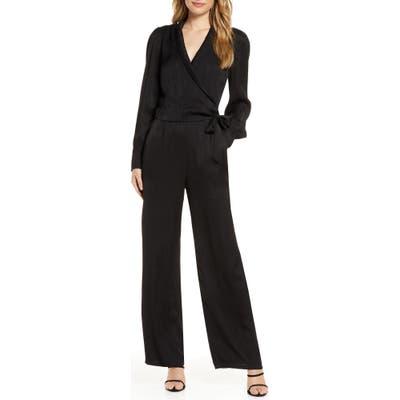 Adelyn Rae Shyla Long Sleeve Textured Satin Jumpsuit, Black