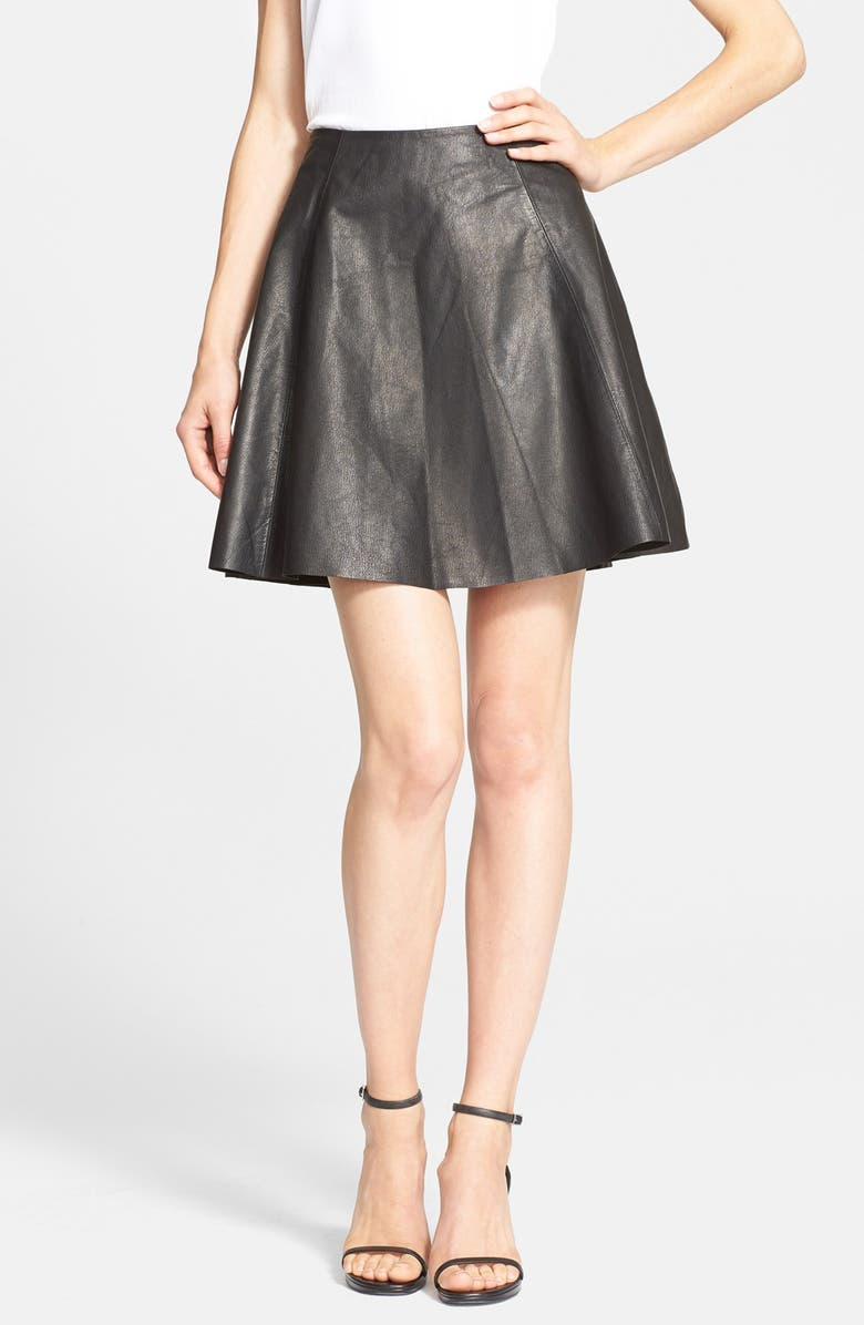 KATE SPADE NEW YORK leather circle skirt, Main, color, 001