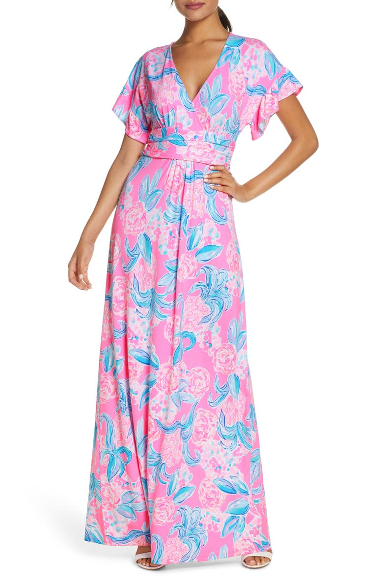 LILLY PULITZER<SUP>®</SUP> Jessi Flutter Maxi Dress, Main, color, PROSECCO PINK PINKING POSITIVE