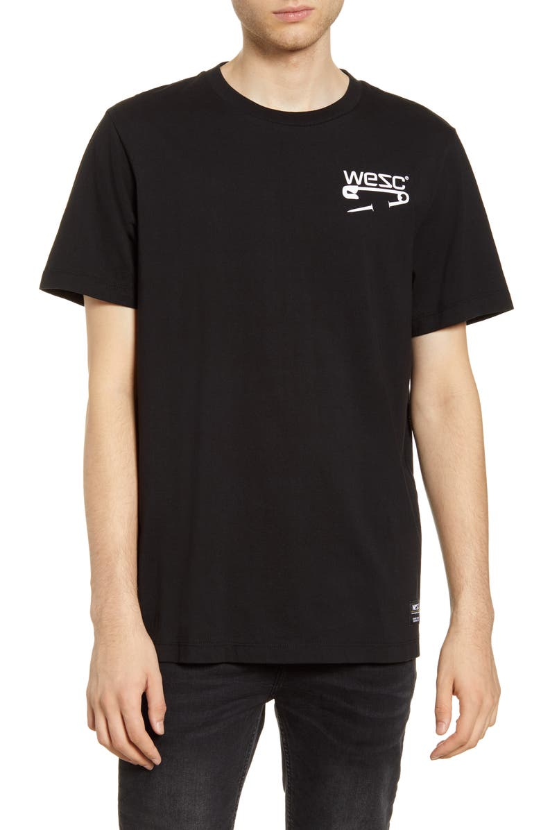 WESC Max Safety Pin T-Shirt, Main, color, BLACK