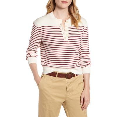 Alex Mill Marine Stripe Crop Merino Wool & Cotton Sweater, Ivory