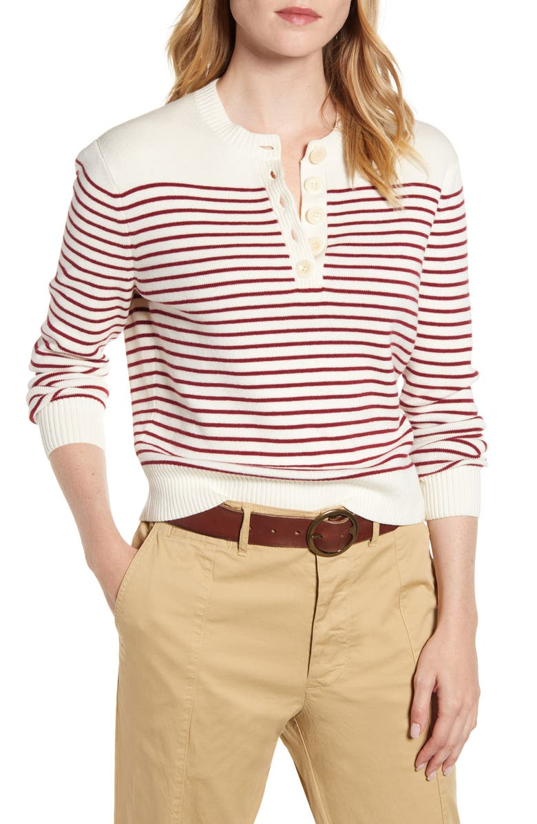 ALEX MILL Marine Stripe Crop Merino Wool & Cotton Sweater, Main, color, IVORY/ BURGUNDY