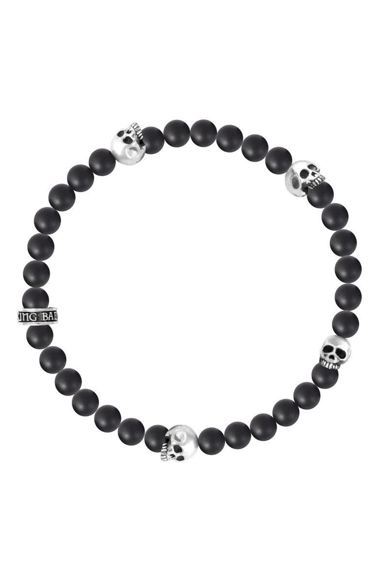 KING BABY Onyx & Skull Bead Bracelet, Main, color, SILVER/ BLACK