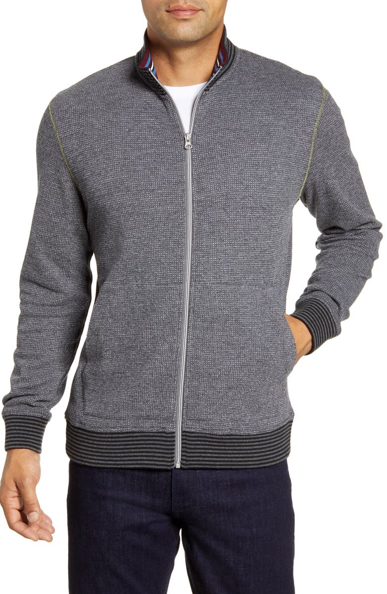 ROBERT GRAHAM Bronte Regular Fit Merino Wool Track Jacket, Main, color, CHARCOAL