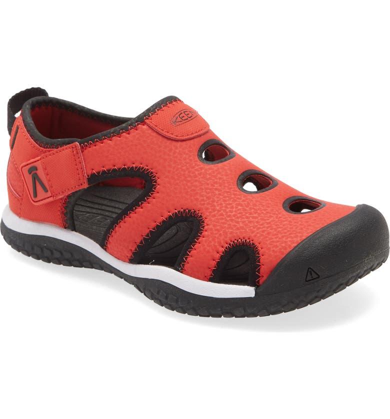 KEEN Stingray Sandal, Main, color, BLACK/ RED