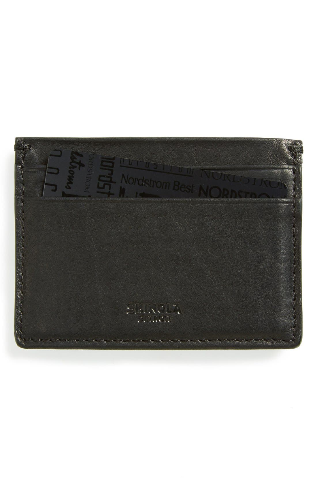 ,                             Leather Card Case,                             Main thumbnail 1, color,                             BLACK