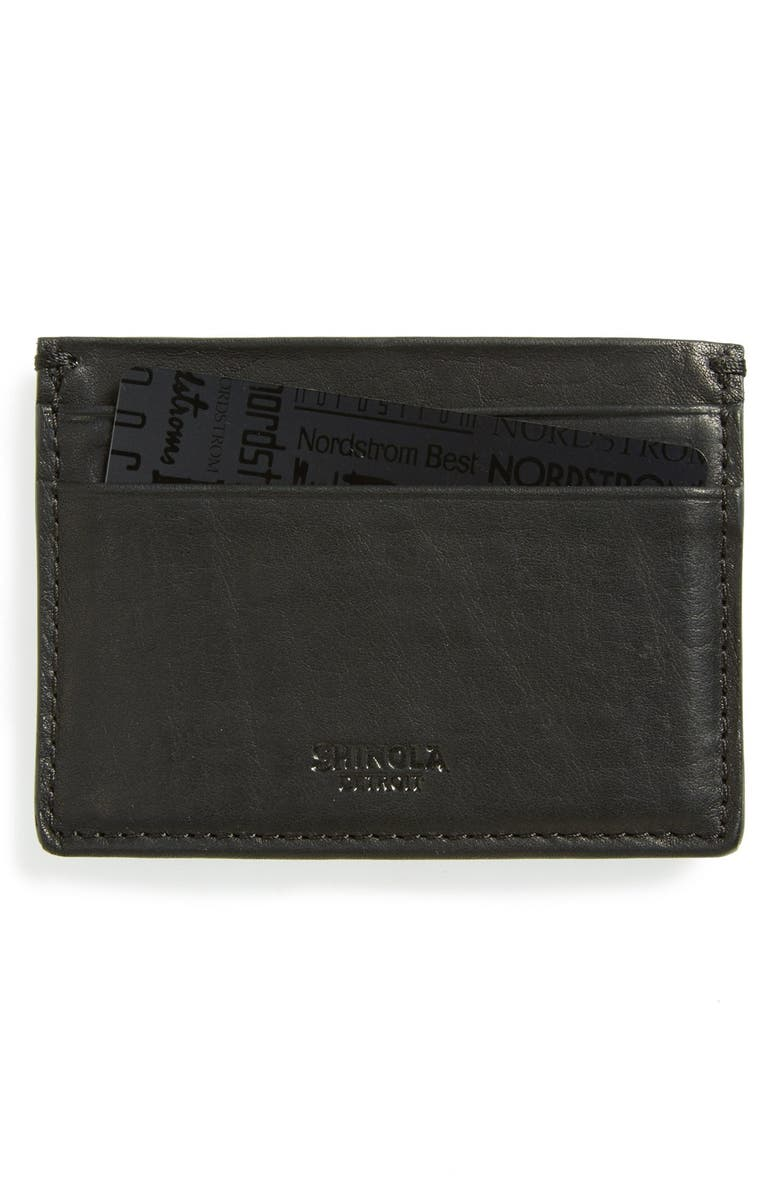 SHINOLA Leather Card Case, Main, color, BLACK