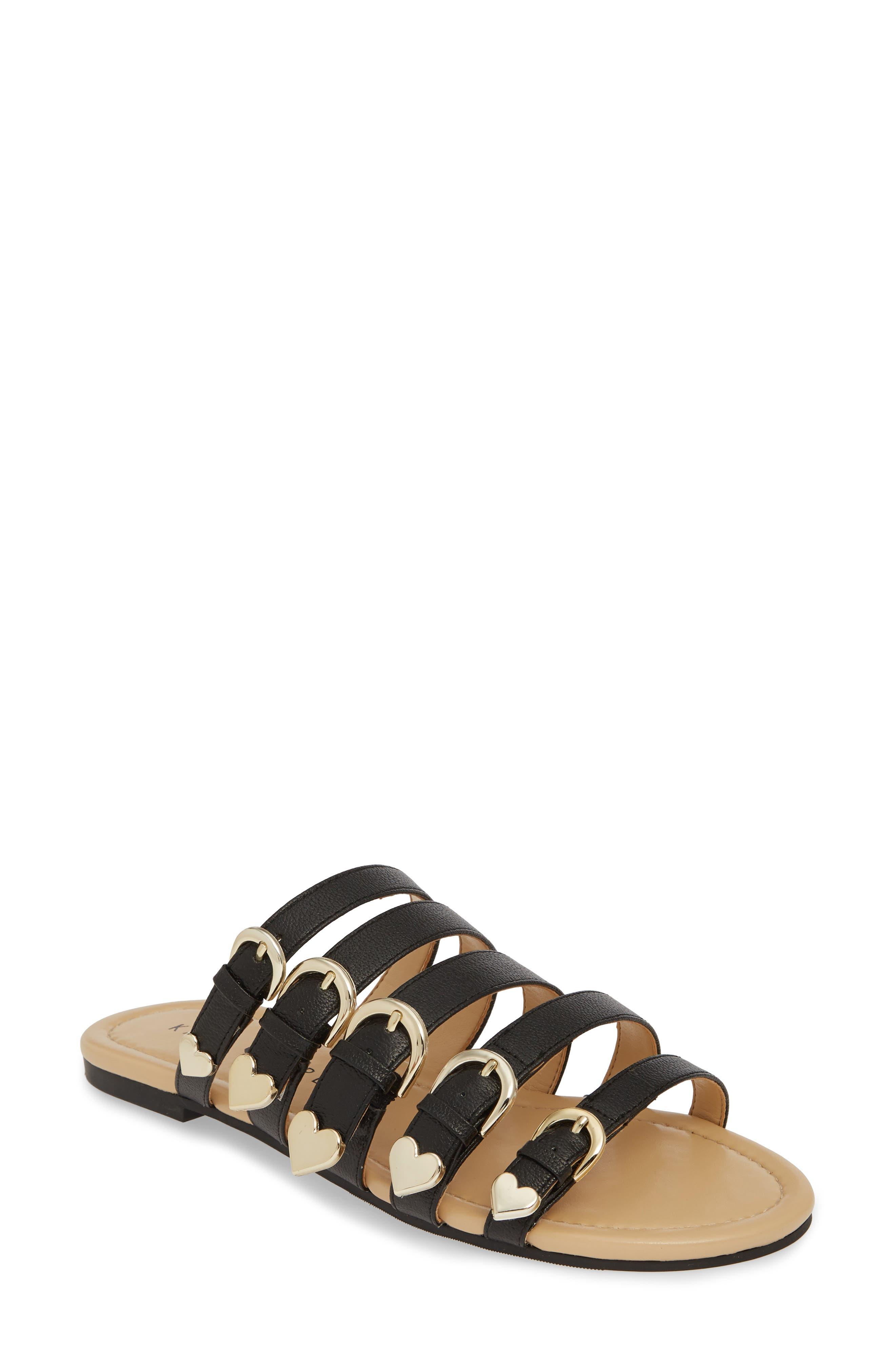 women's katy perry nikki flat slide sandal, size 9.5 m - black