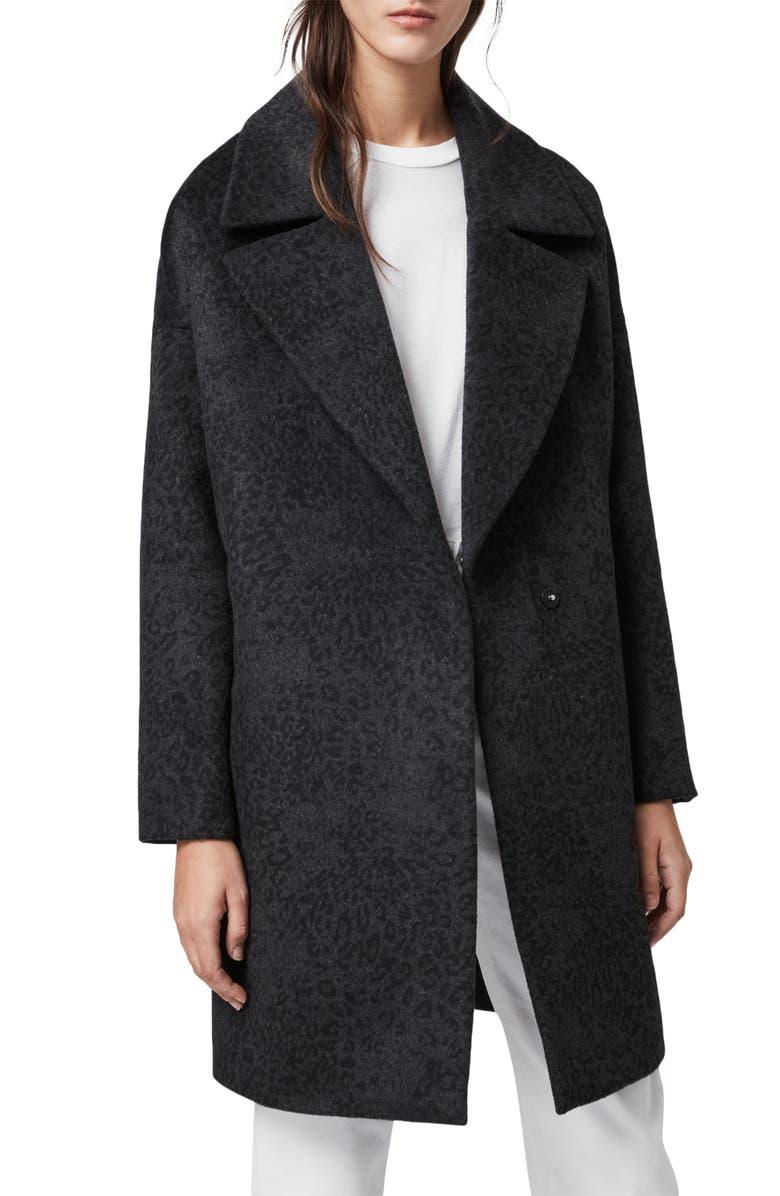 ALLSAINTS Jetta Leopard Coat, Main, color, CHARCOAL GREY