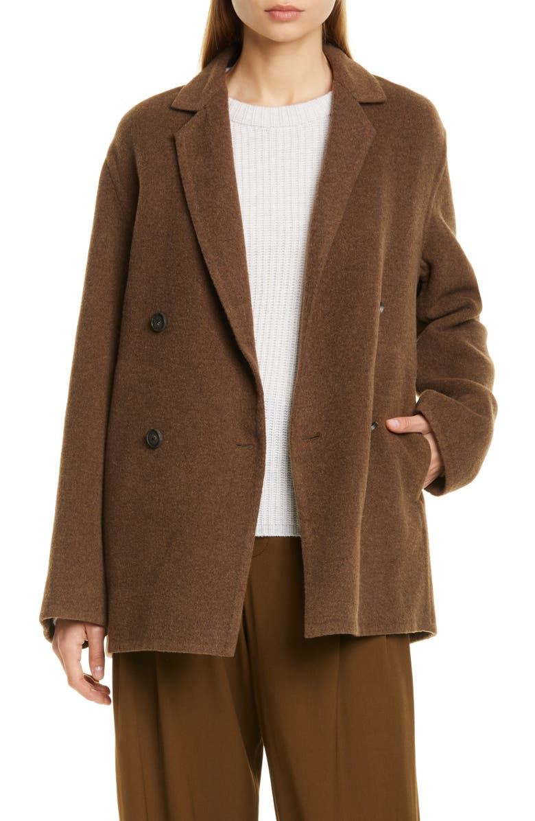 VINCE Double Breasted Wool Blend Coat, Main, color, WOODBINE