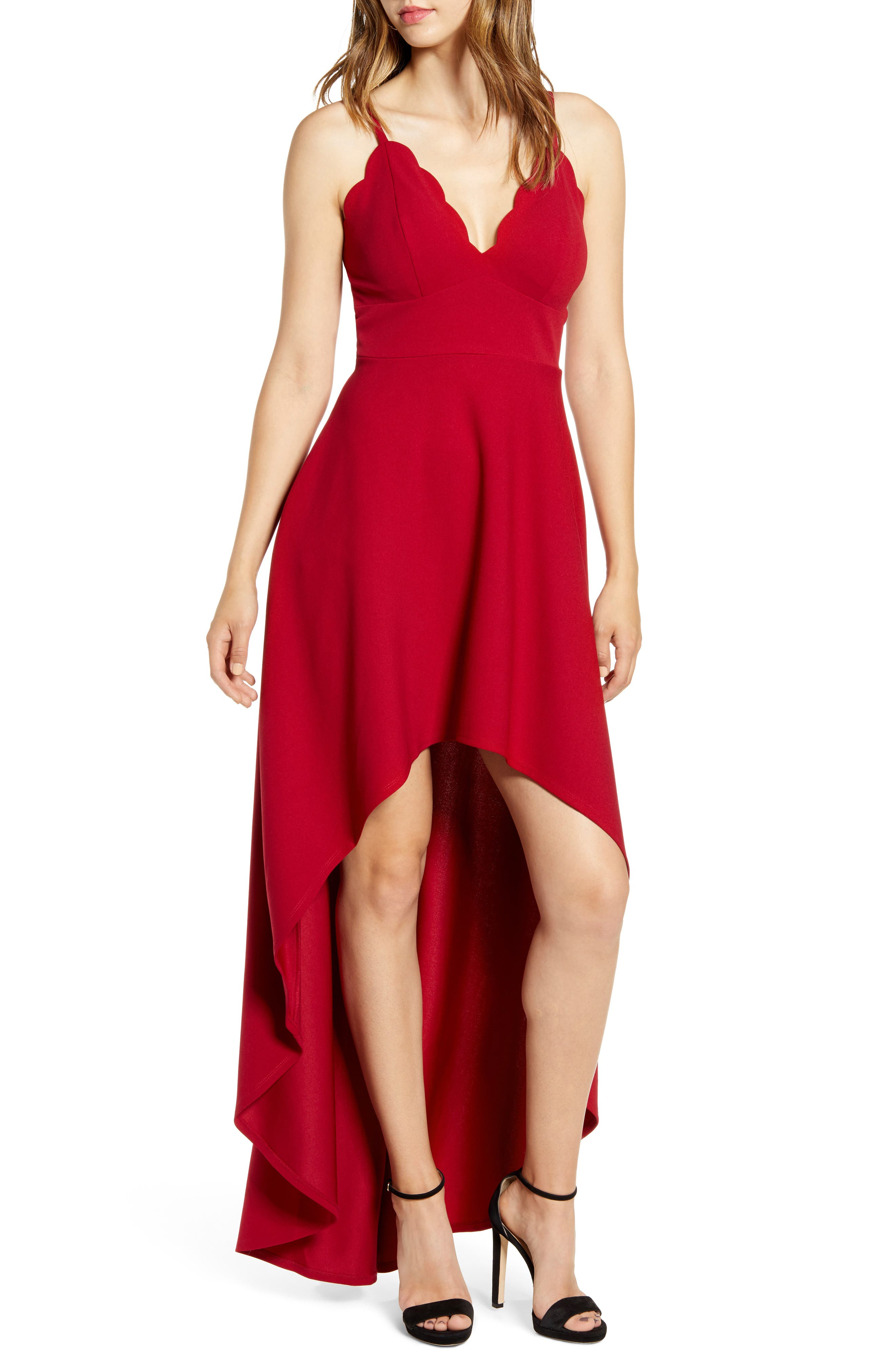 Speechless Scallop Plunge Neck High/low Dress, Red