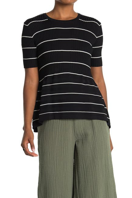 Image of CURRENT AIR Striped Short Sleeve Babydoll Top