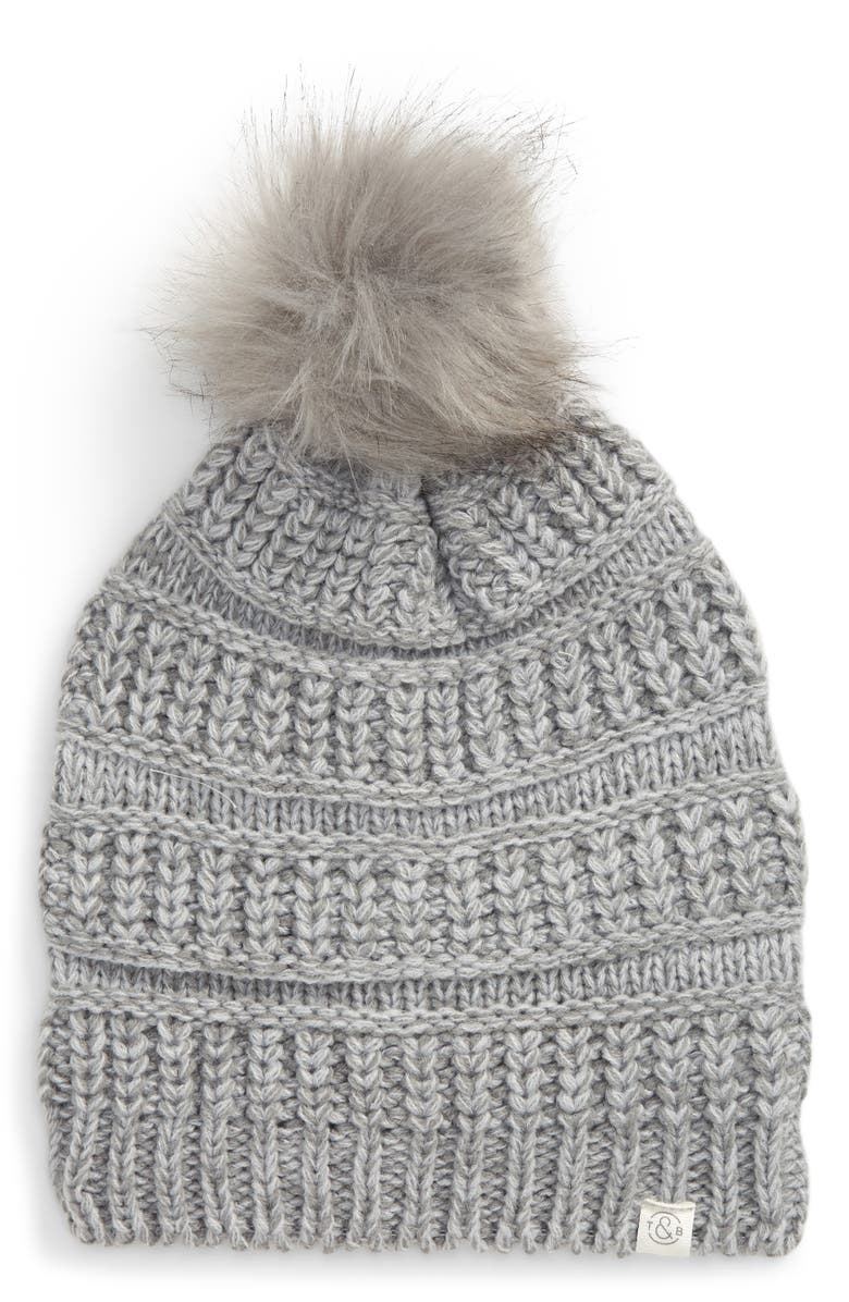 TREASURE & BOND Faux Fur Pom Beanie, Main, color, GREY MONUMENT COMBO