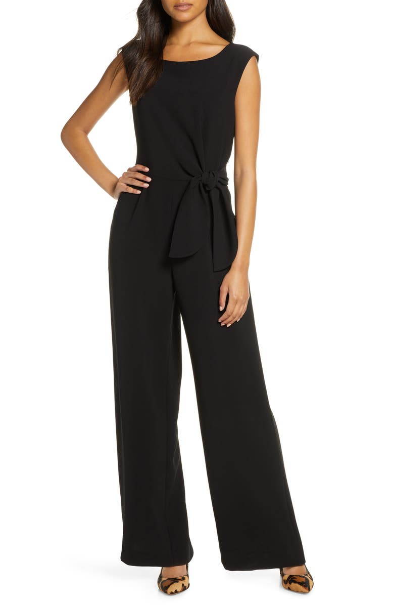 TAHARI Tie Waist Sleeveless Crepe Jumpsuit, Main, color, BLACK