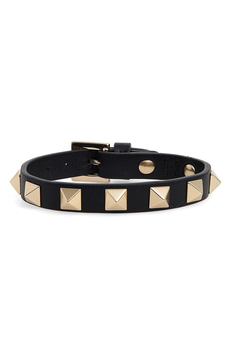 VALENTINO Rockstud Small Leather Bracelet, Main, color, NERO