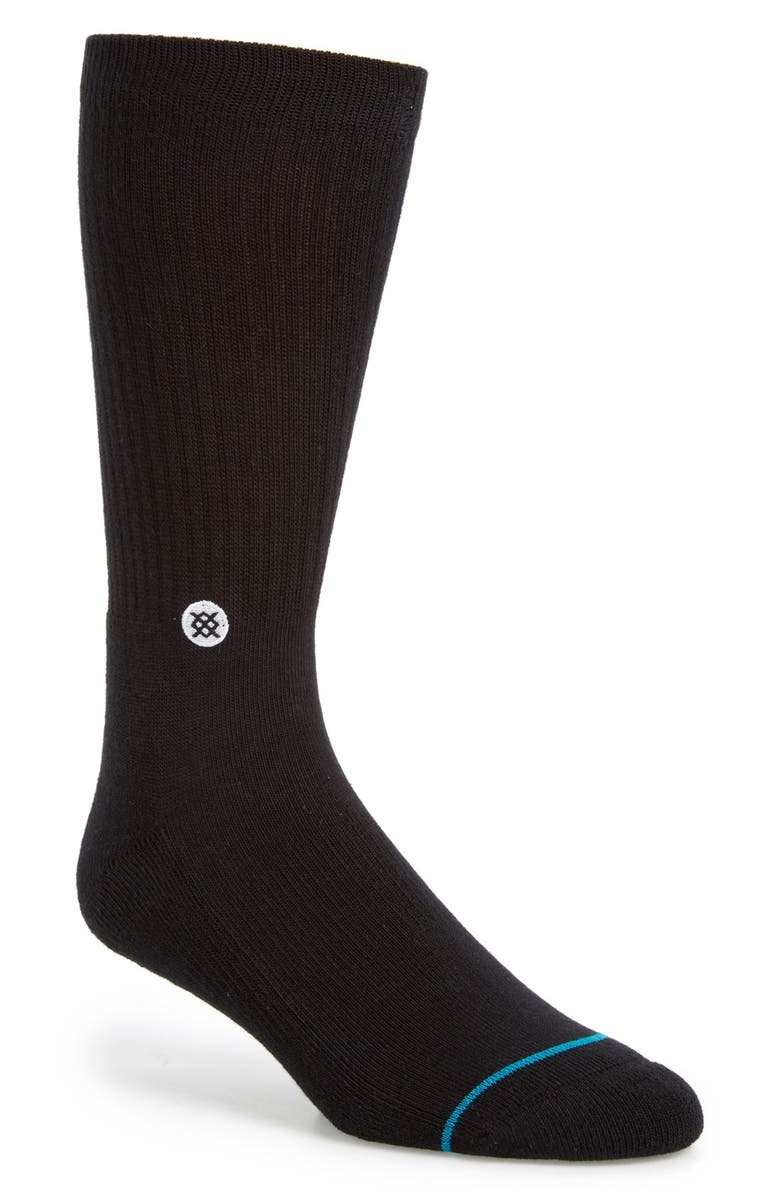 STANCE 'Icon' Crew Socks, Main, color, BLACK/ WHITE