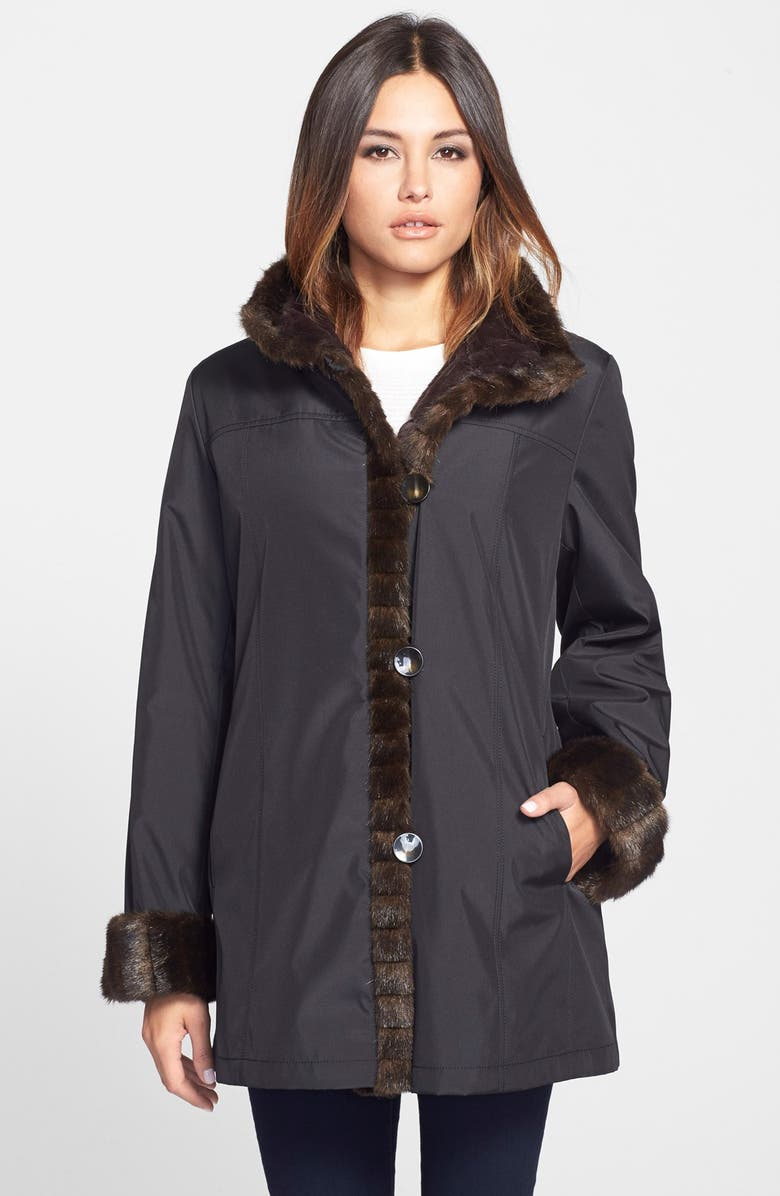 GALLERY Storm Coat with Faux Fur Lining & Trim, Main, color, 001