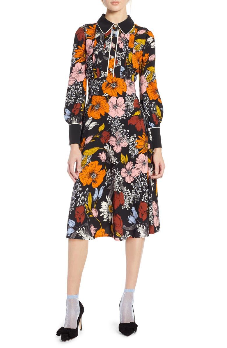 HALOGEN<SUP>®</SUP> x Atlantic-Pacific Floral Print A-Line Dress, Main, color, 001